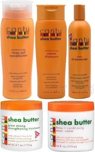 Cantu, Set da 5 pezzi al burro di karité (shampoo, balsamo, trattamento rafforzante per la crescita, olio idratante e balsamo senza risciacquo)