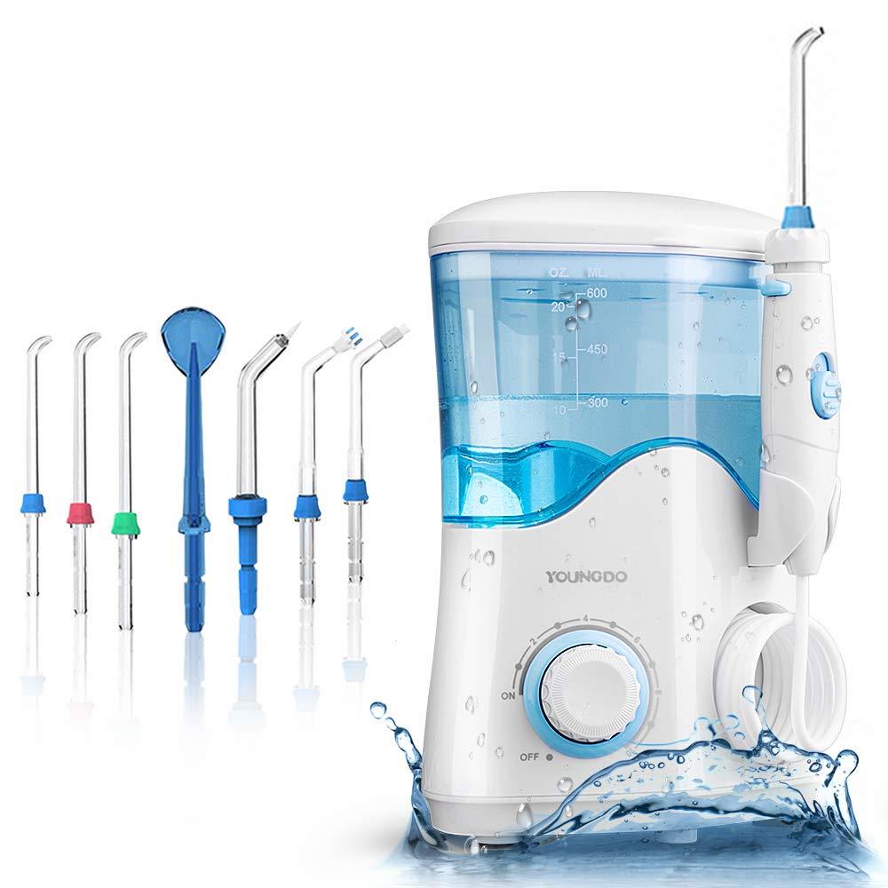 YOUNGDO Idropulsore Dentale Professionale da capacità 600ml, Irrigatore Orale con 10 modalità, Irrigatore Dentale con 7 Ugelli di Ricambio per Pulizia Dentale e Igiene Dentale