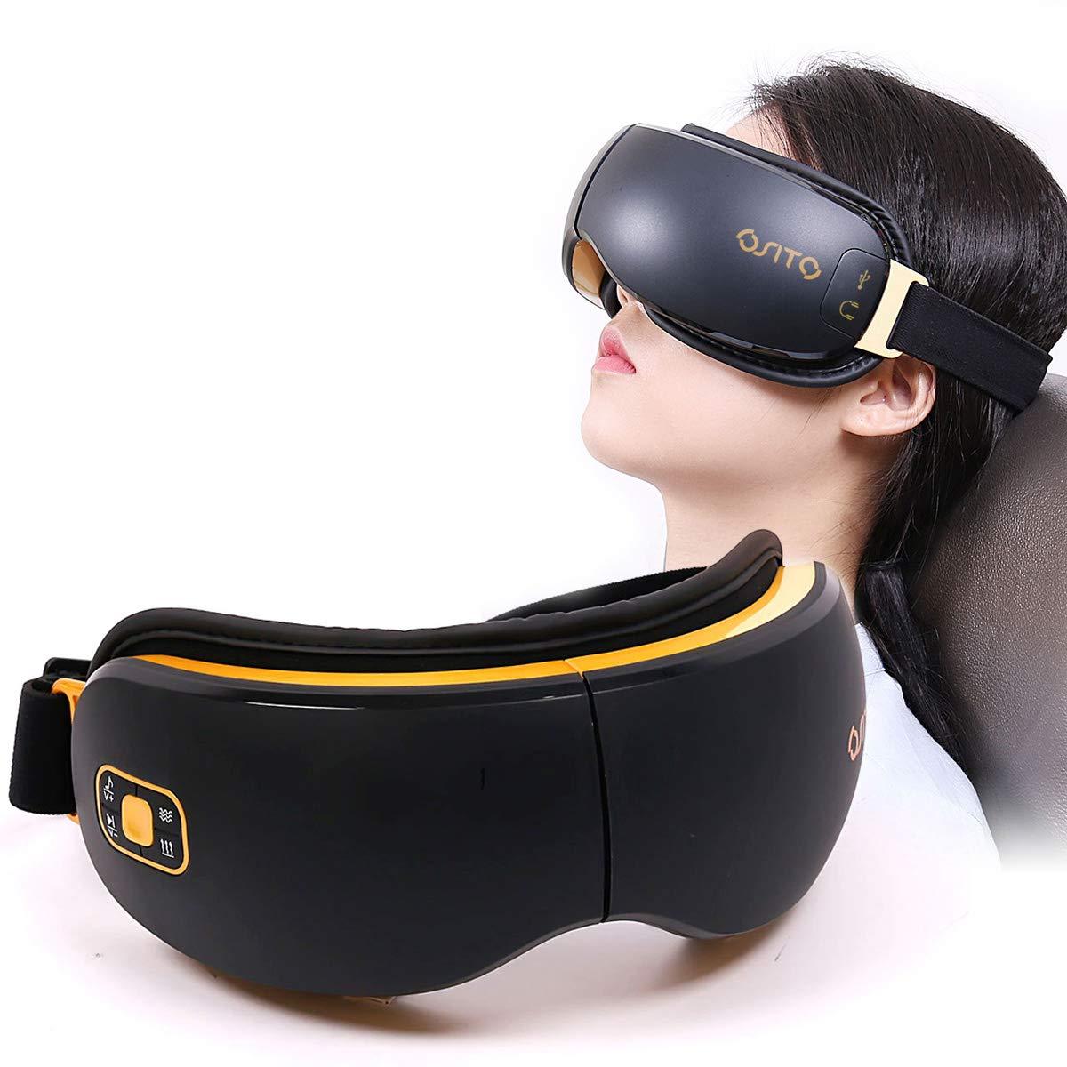 OSITO Massaggiatore elettrico per occhi con modalità Heat / Rap / Music / Air Four per ridurre i cerchi scuri e migliorare il sonno