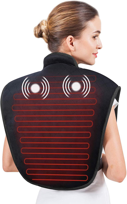 Snailax Termoforo Cervicale e Spalle Massaggio Vibrante Scaldacollo Elettrico con Calore Regolabili, Cuscino Termico Elettrico con Spegnimento Automatico