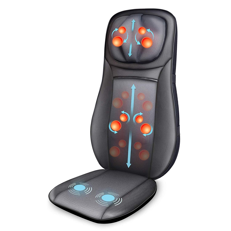 Snailax Sedile Massaggiante con Calore - Massaggiatore Schiena Shiatsu a Vibrazione Seduta Massaggiante con Regolazione in Altezza Massaggiatore Elettrico per Collo e Schiena a Casa o in Ufficio