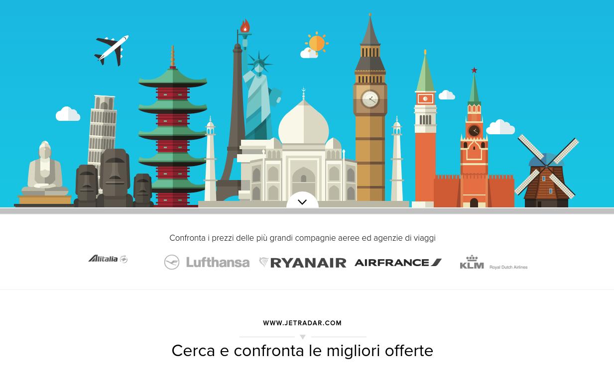 Trovare il volo aereo meno costoso e la miglior offerta di viaggio